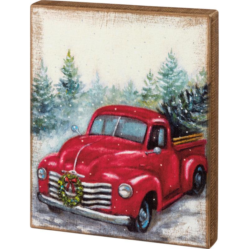 Red Truck Christmas Box Sign