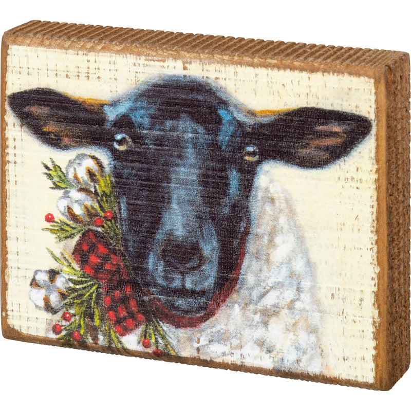 Christmas Sheep Block Sign