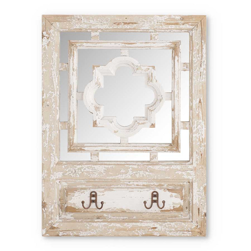 "30"" Distressed White Wood Square Framed Mirror w/2 Hooks"