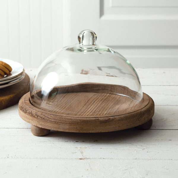 Cloche with Wooden Base
