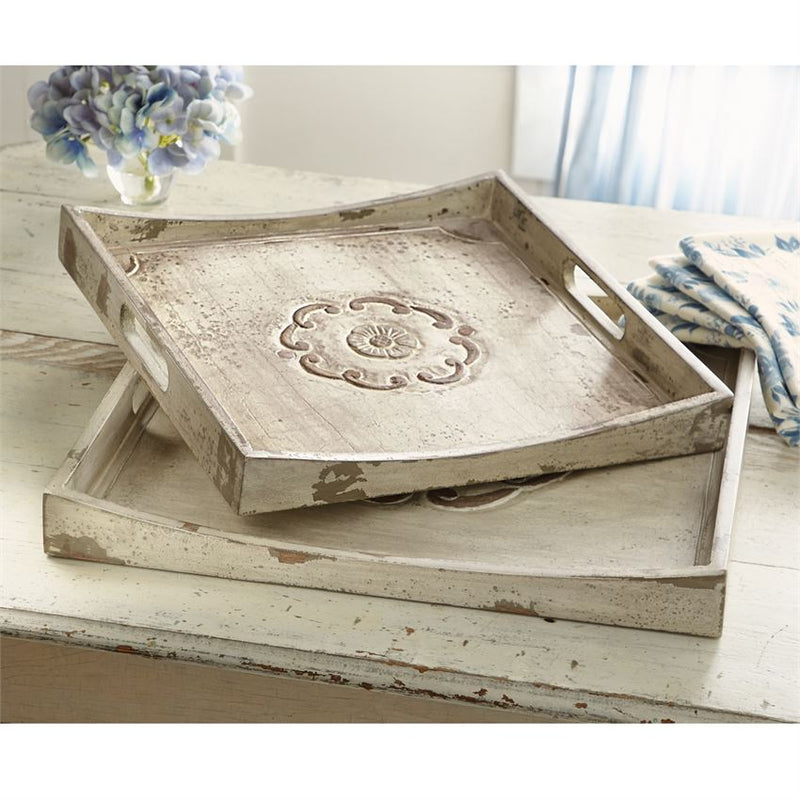Floral Wood Tray Set