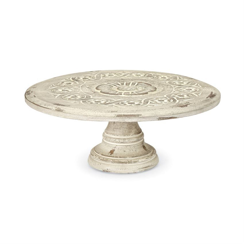 Floral Carved Wood Cake Stand