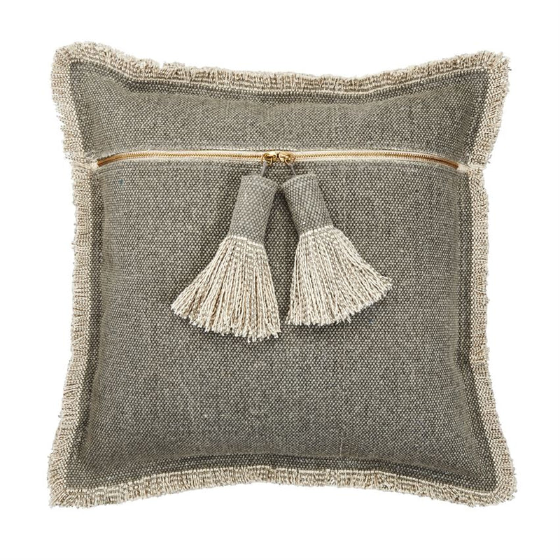 Grey Dhurrie Pillow