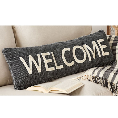 Welcome Black Pillow