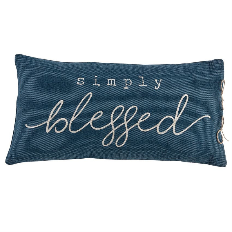 Simply Blessed Blue Pillow
