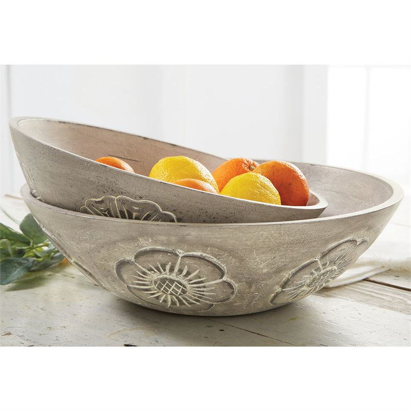 Floral Carved Wooden Bowl Set