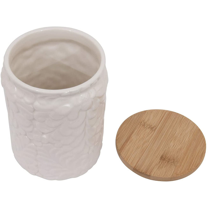 White Canister with Bamboo Lid