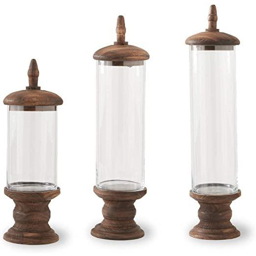 Glass Cylinder on Wooden Base