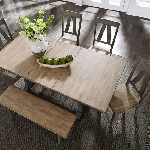 Sandstone Trestle Table Set with Bench