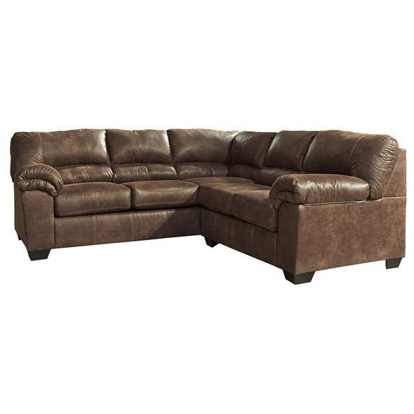 Brown Leather Two Piece Sectional