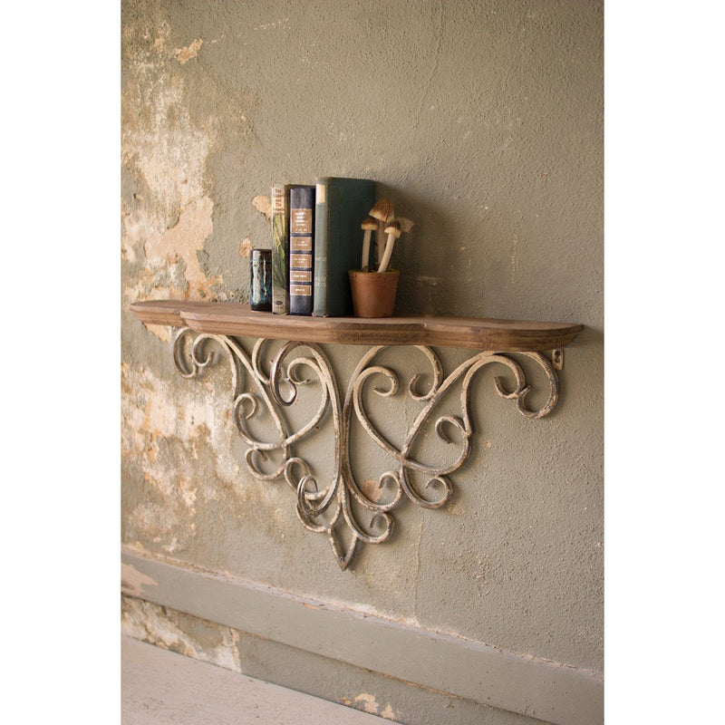Filigree Metal & Wood Shelf