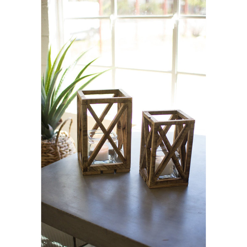 Wooden Lantern with Glass Insert