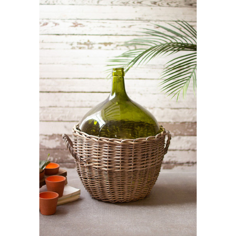 Green Wicker Bottle