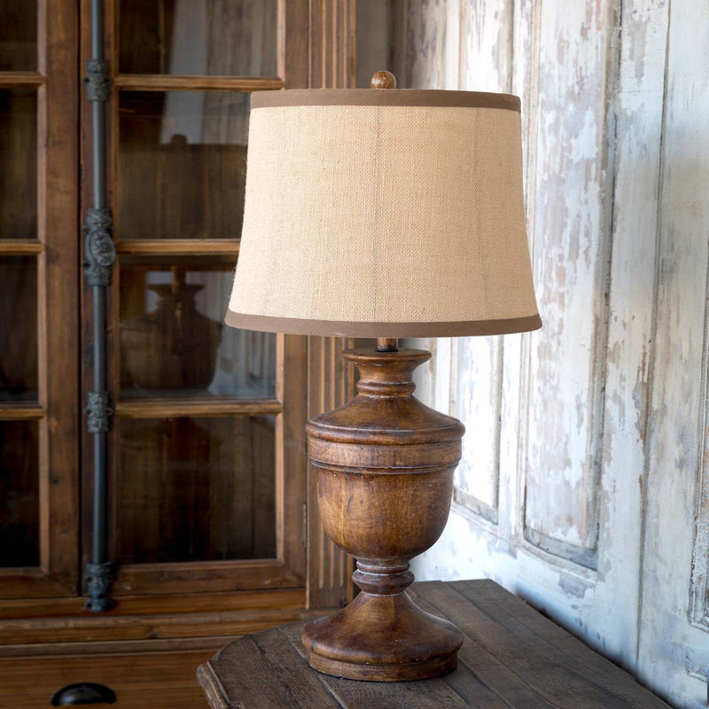 Wooden Urn Lamp