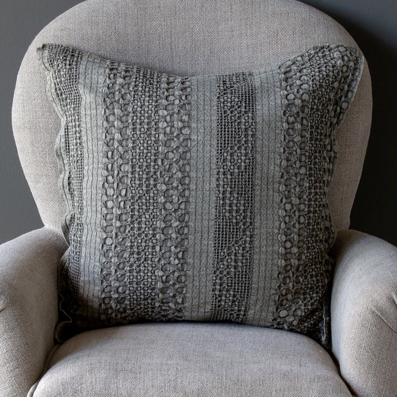 Grey Waffle Weave Pillow