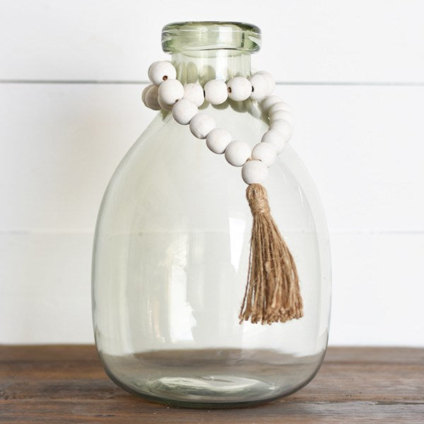 Whitewashed Beads with Tassle