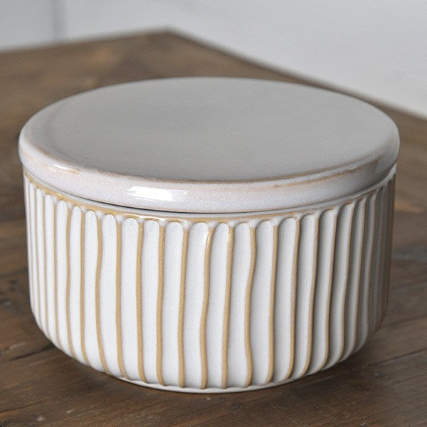 Striped Ceramic Container