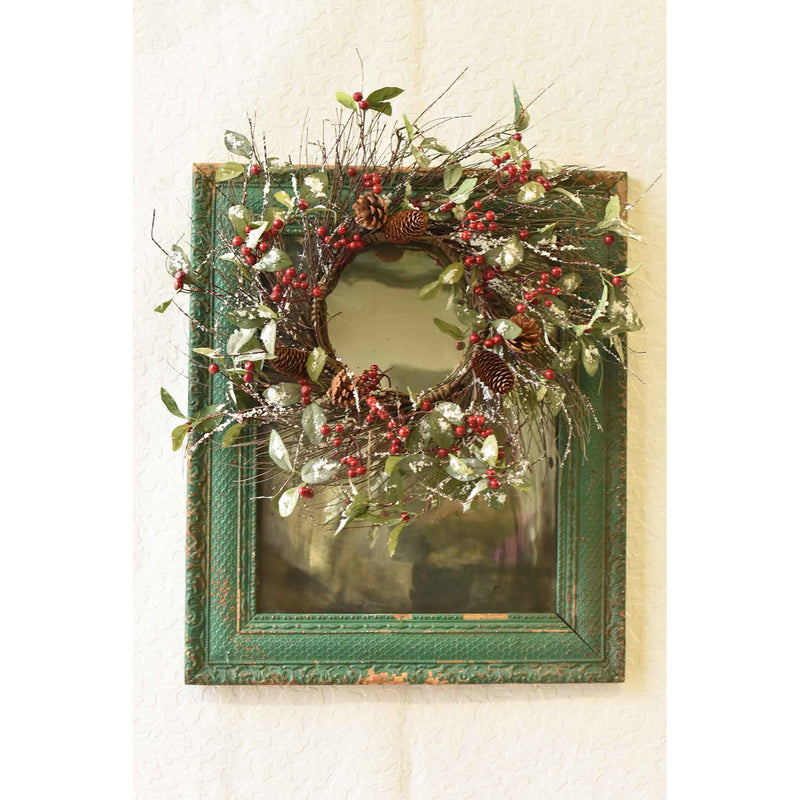 "22"" Iced Holly Wreath"