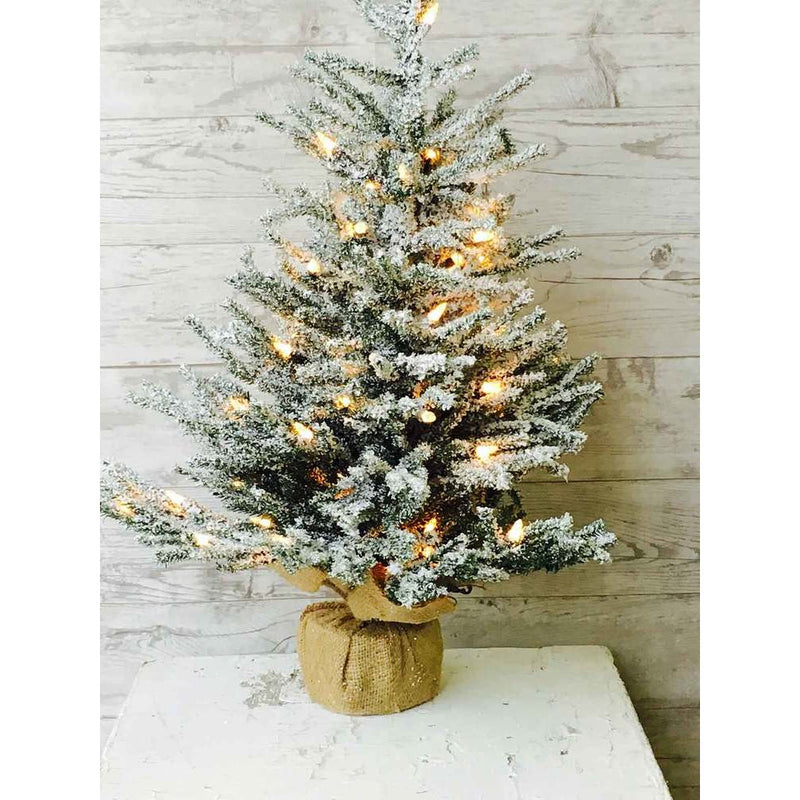 "24"" Lit Pine Snow Tree"