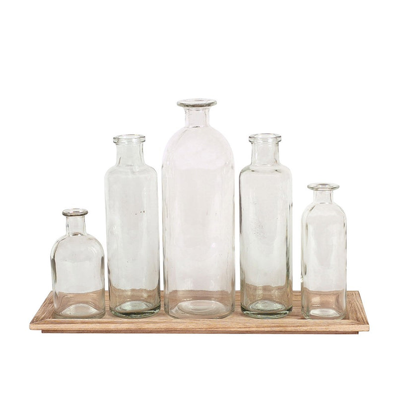 Wood Tray with 5 Glass Bottles
