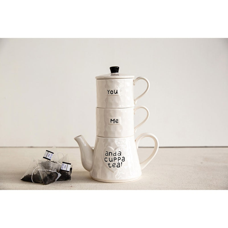 You & Me Stackable Teapot & Mugset