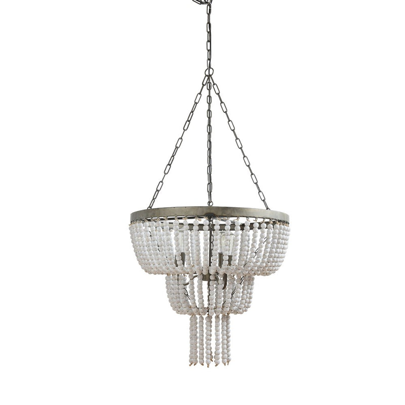 White Washed Beaded Chandelier