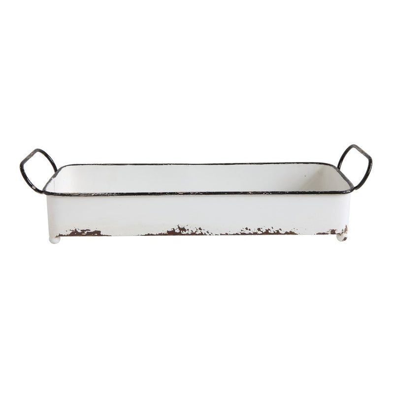 White Metal Distressed Tray