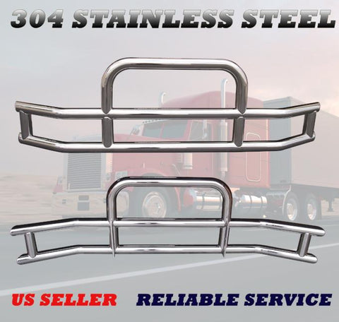 QSC Polished Stainless Steel Deer Bumper Guard w/ Bracket for Volvo VNL 04-17