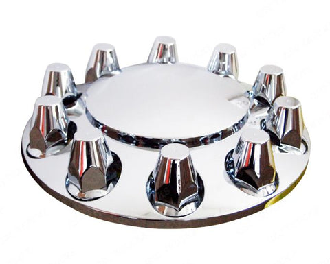 QSC Chrome Semi Truck Front Axle Cover kits Hub Cap 33mm Thread on Lug Nuts