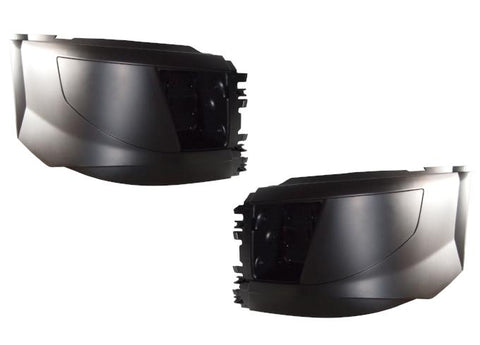 QSC Left & Right Side Bumper End Set for Volvo VNL 2015+ w/ Fog Light Hole