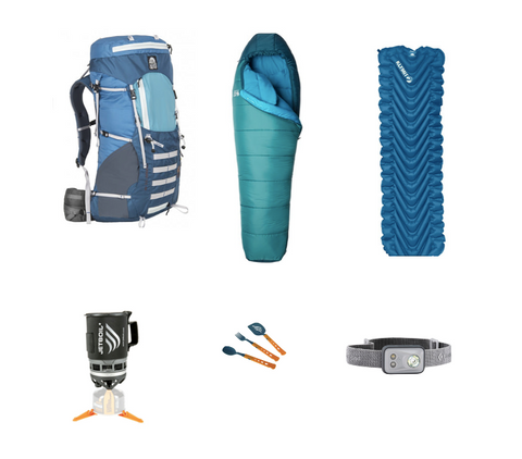 Rent Backpacking equipment, Rent backpacking gear bundle, Granite gear backpack with Jetboil, klymit sleeping pad and mountaineering sleeping bag