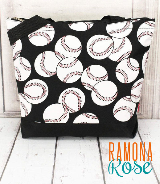 Baseball tote bag with black trim, with extra pouch