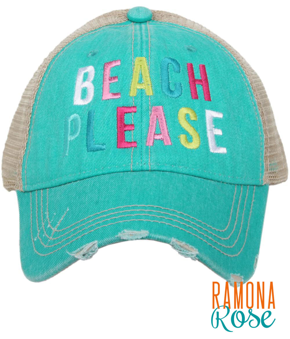 'Beach Please' distressed trucker hat