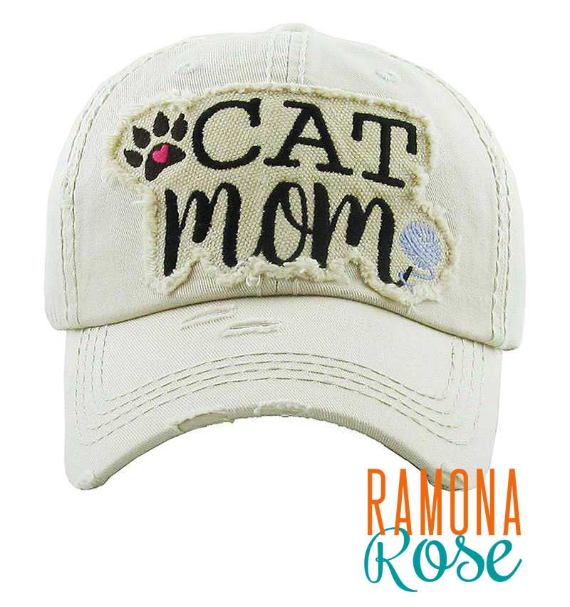 Cat Mom distressed baseball cap