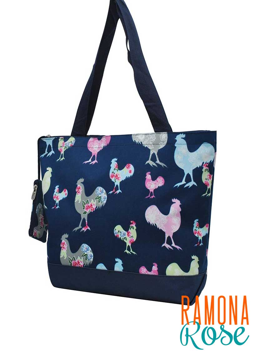 Floral chicken canvas tote bag