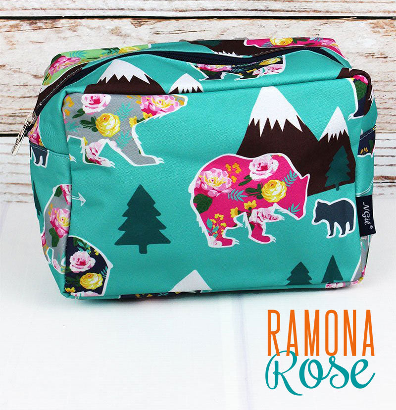 Floral Bear Makeup or Travel Case