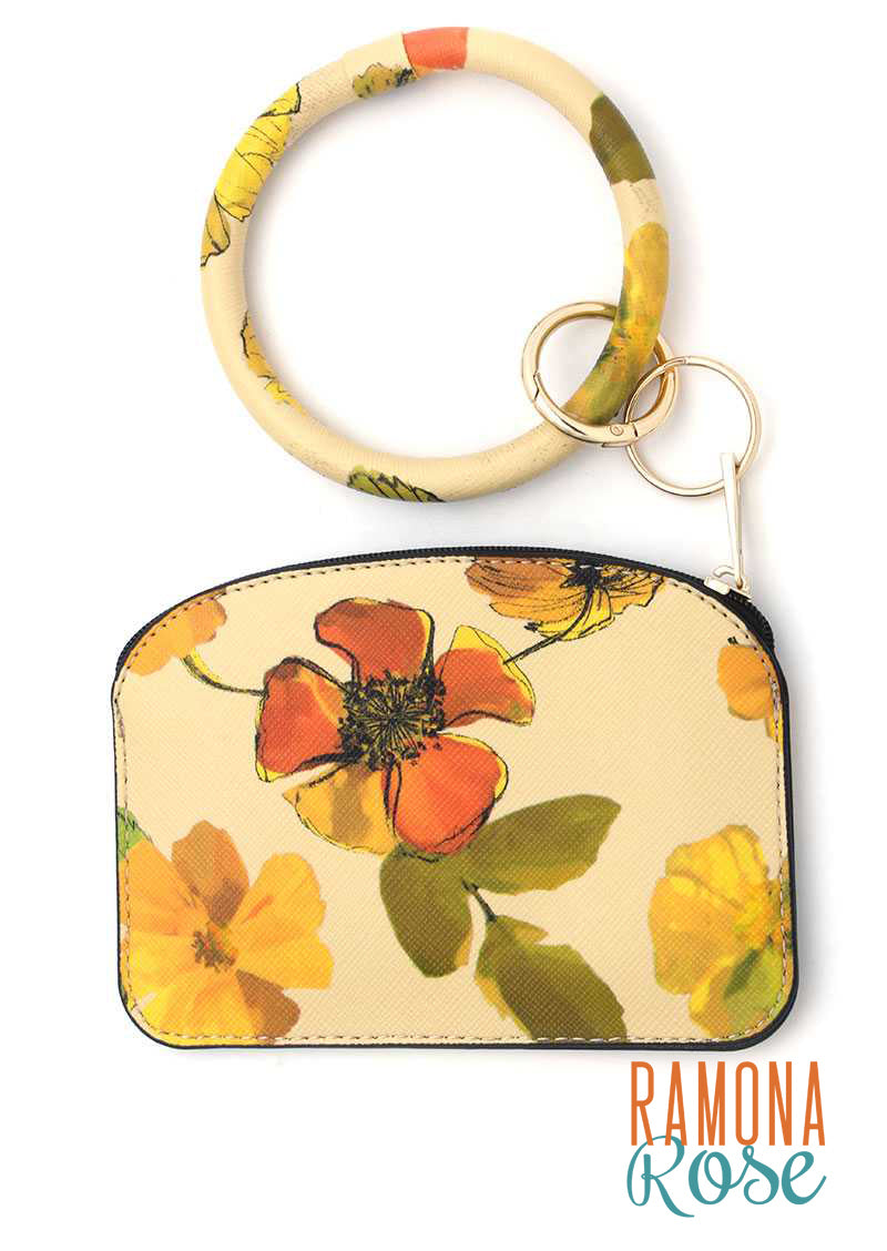 Floral keychain with pouch