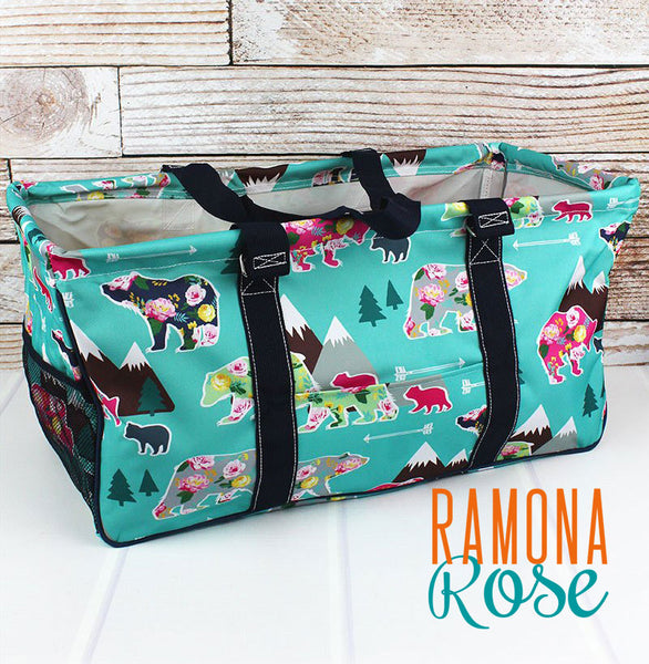 Floral Bear Large Utility Tote