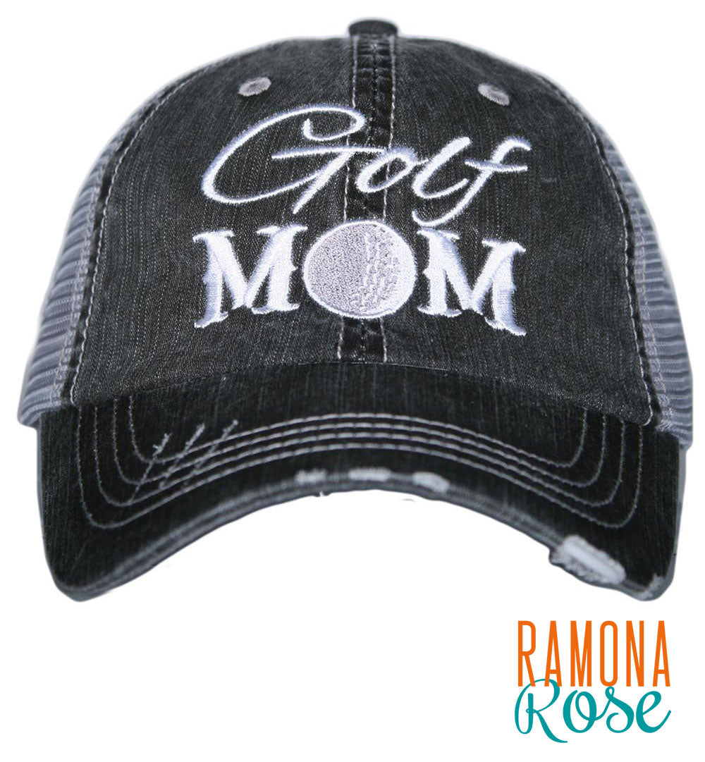 'Golf Mom' distressed trucker hat