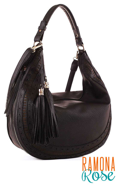 Hobo bag with expandable body and optional long strap (vegan leather)