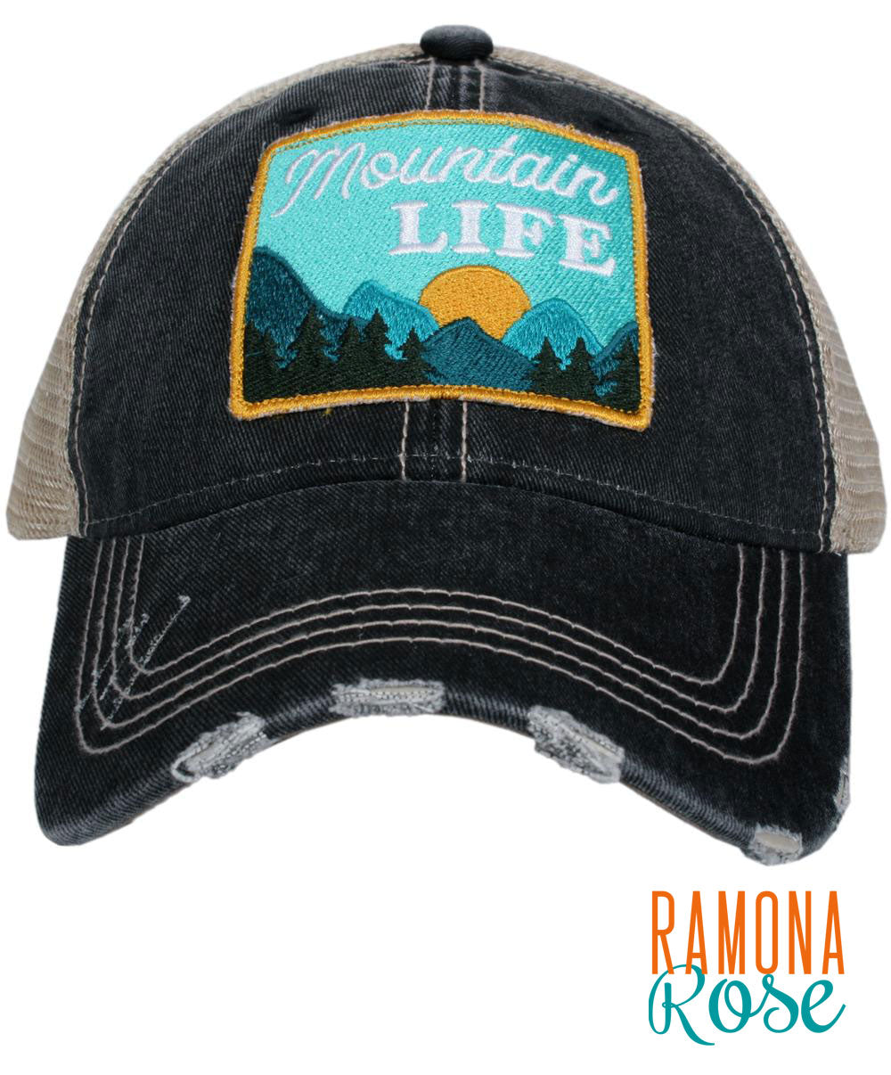 Mountain Life distressed Trucker hat
