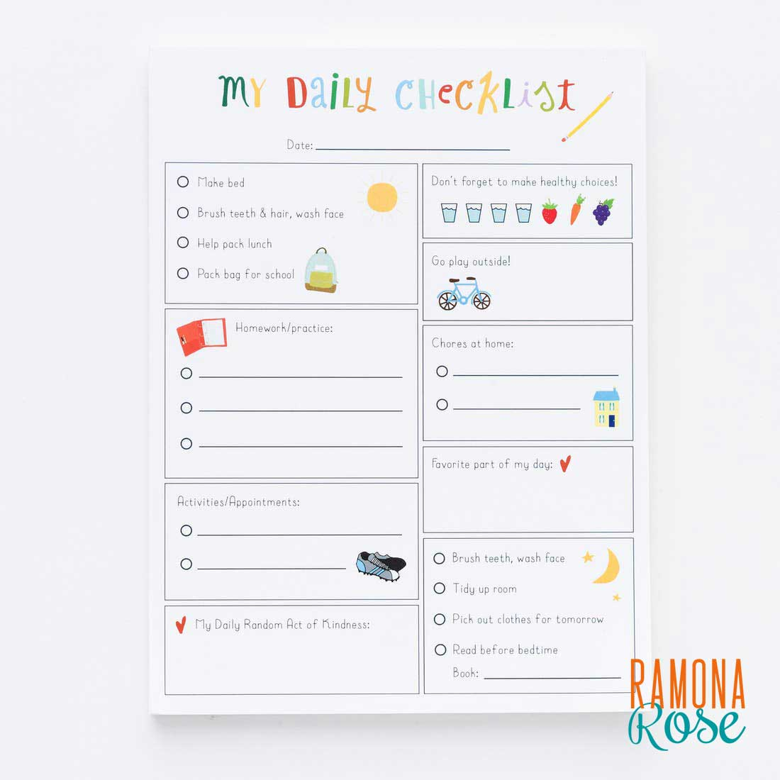 My Daily Checklist for Kids - Annie Taylor Design