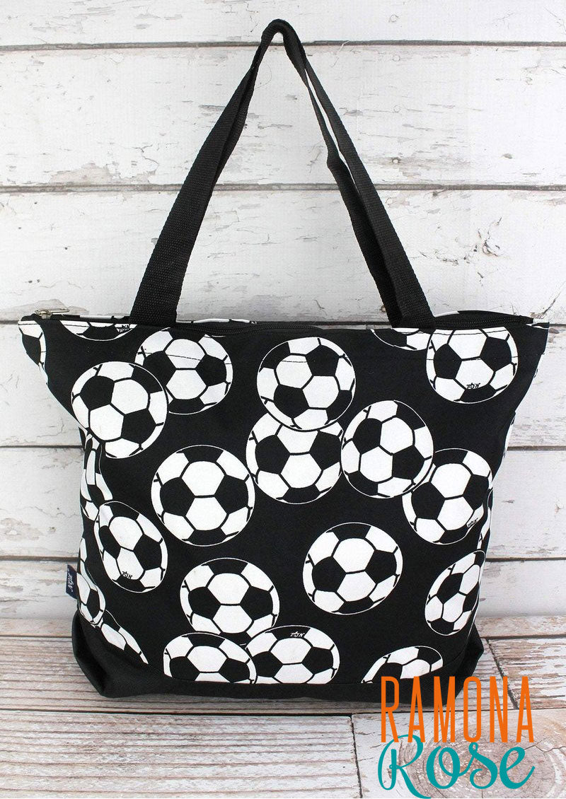 Soccer tote bag with black trim, with extra pouch