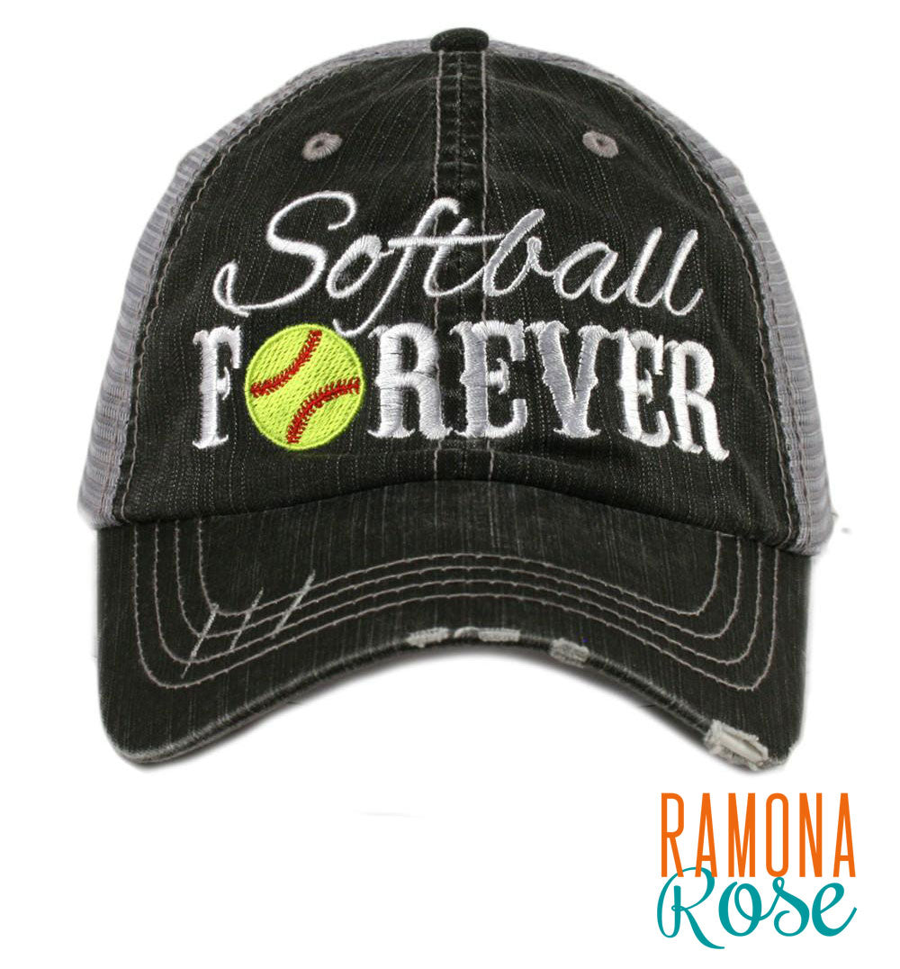 'Softball Forever' trucker hat, distressed