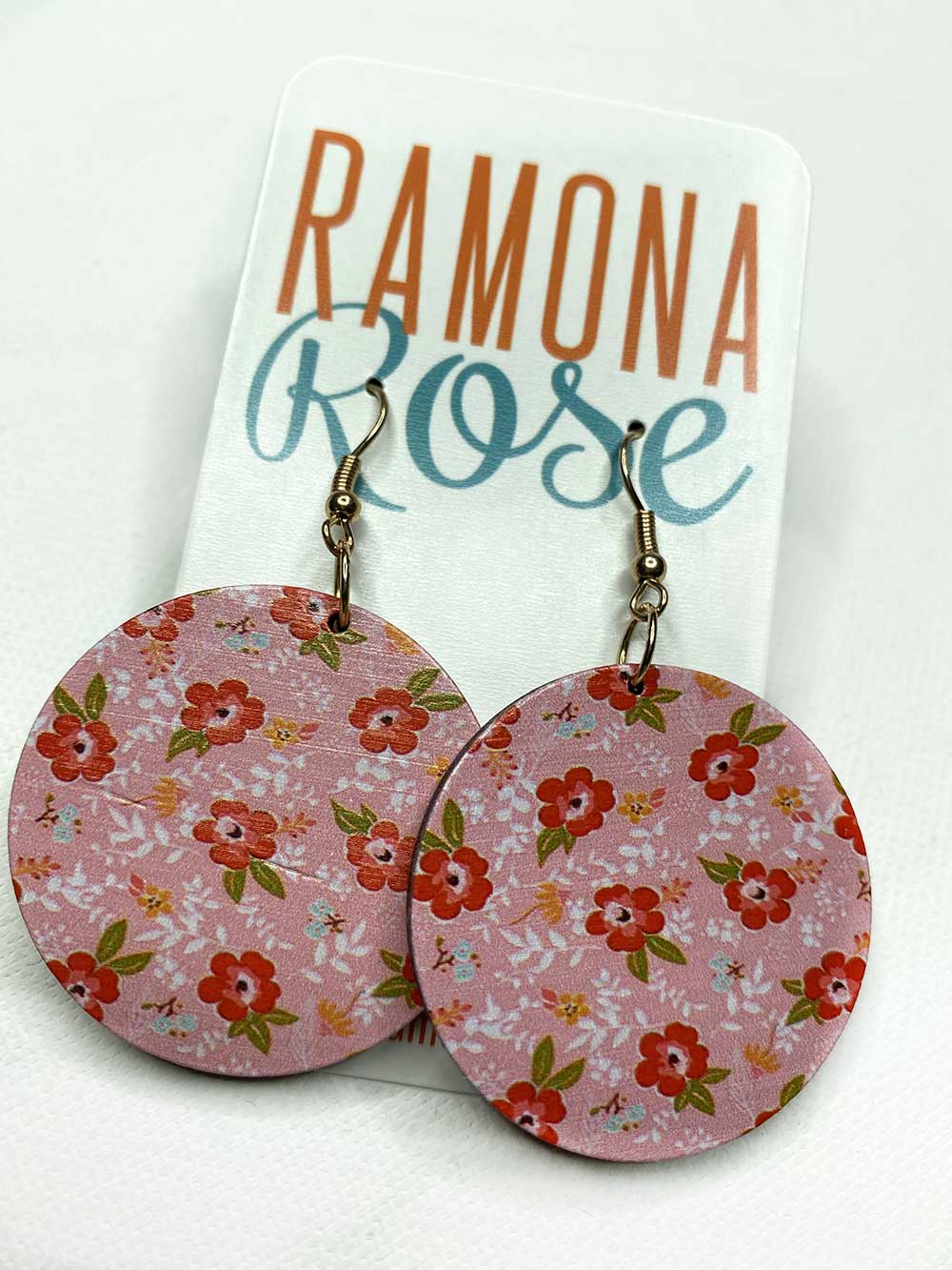 Round wooden pink floral dangle earring