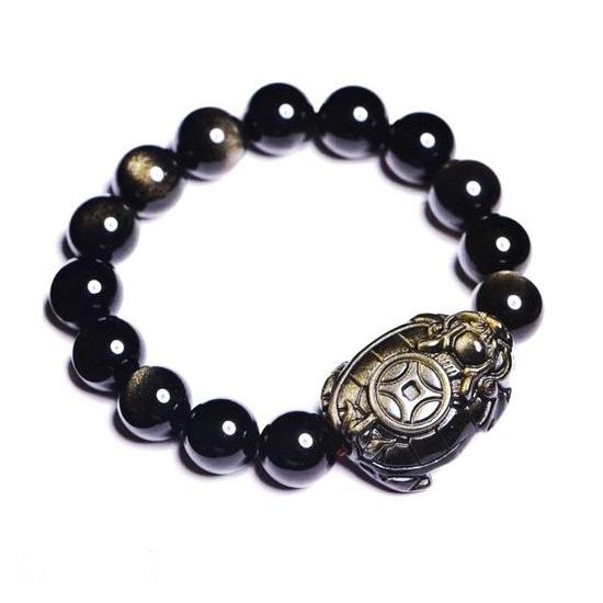 Bracelet Tortue Pierre - Dragon Tortue (Obsidienne)