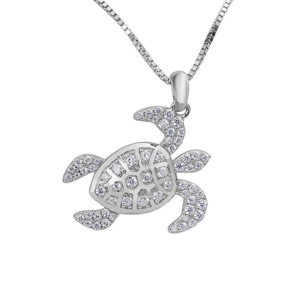 Pendentif Tortue Strass - Majesty (Argent)