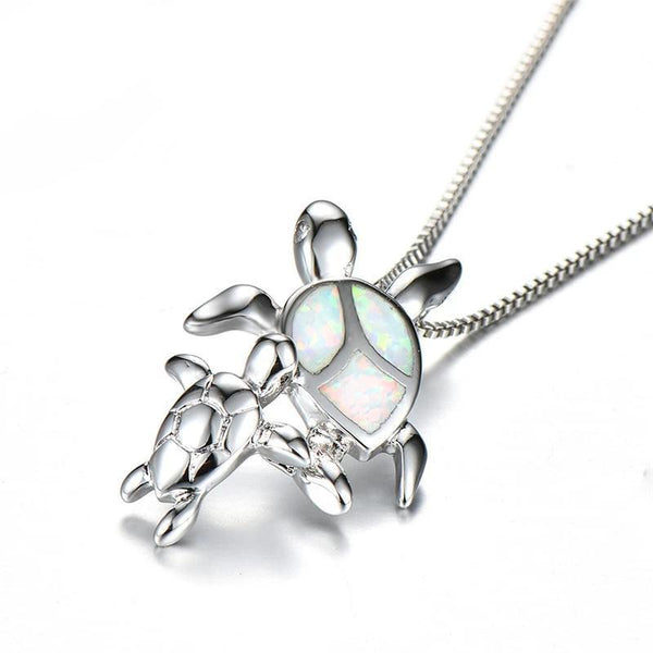 Pendentif Tortue - Mom & Baby (Argent)