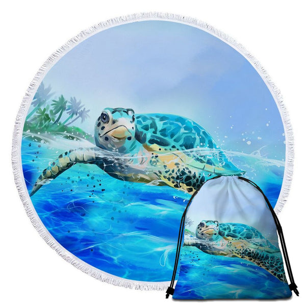 Serviette de Plage Tortue Ronde - Surface