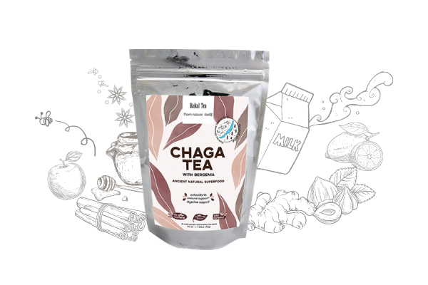 Chaga Tea with Bergenia (x30 teabags, $5 OFF applied)